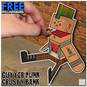 FREEwilliamsburg Hipster Gutter Punk Crusty Bank Paper Foldables paper toy