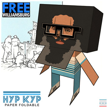 FREEwilliamsburg Hipster Kyp Malone TV on the Radio Paper Foldables paper toy