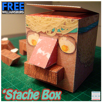 FREEwilliamsburg Hipster 420 'Stache Box Paper Foldables paper toy