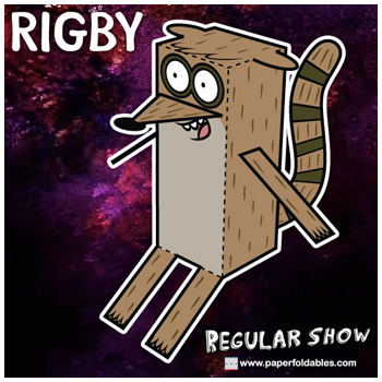 Cartoon Network Regular Show Rigby Paper Foldables paper toy
